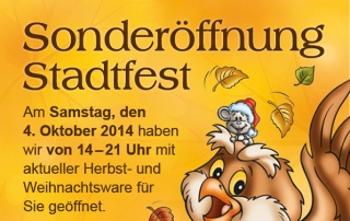 Flyer für Sonderöffnung Stadtfest