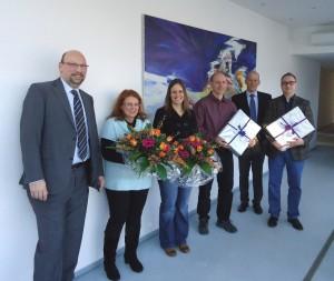 v.l.n.r: Kfm.-Leiter, ppa, MdGL M.G. Krebs, S. Götz, T. Leonhardt, T. Schweizer, Geschäftsführer M. Bosch, Produktionsleiter R. Möller